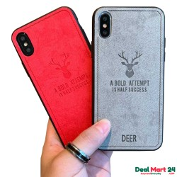 Fabric 3D Deer Print Cloth Pattern Soft TPU Case Cover For Redmi Note 7 Pro