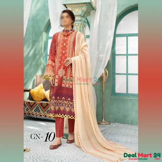 Gulzar Printed Unstitched Lawn Collection D-GN 10